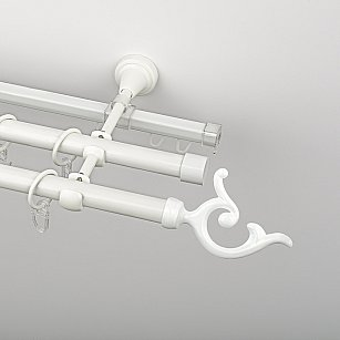 """Карниз металлический стыкованный c наконечниками """"Ноя"""", 3-рядный, белый пиано, гладкая труба, ø 19 мм"""