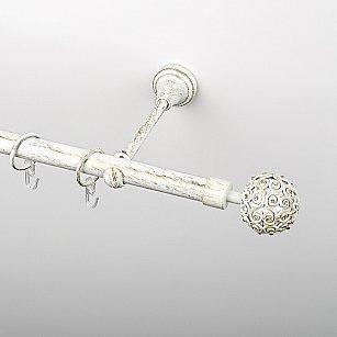 """Карниз металлический стыкованный, 1-рядный """"Тэтис"""", белое золото, гладкая труба, ø 19 мм"""