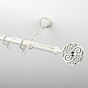 """Карниз металлический стыкованный, 1-рядный """"Вега"""", белое золото, гладкая труба, ø 19 мм"""