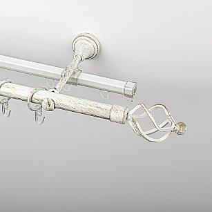 """Карниз металлический стыкованный c наконечниками """"Авея"""", 2-рядный, белое золото, гладкая труба, ø 19 мм"""