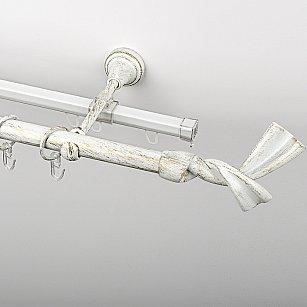 """Карниз металлический стыкованный c наконечниками """"Дива"""", 2-рядный, белое золото, гладкая труба, ø 19 мм"""
