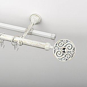 """Карниз металлический стыкованный c наконечниками """"Вега"""", 2-рядный, белое золото, гладкая труба, ø 19 мм"""