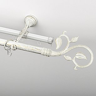 """Карниз металлический стыкованный c наконечниками """"Флора"""", 2-рядный, белое золото, гладкая труба, ø 19 мм"""