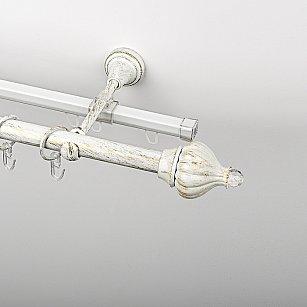 """Карниз металлический стыкованный c наконечниками """"Тайбэй"""", 2-рядный, белое золото, гладкая труба, ø 19 мм"""