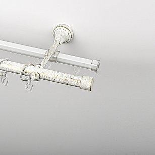 """Карниз металлический стыкованный c наконечниками """"Кап"""", 2-рядный, белое золото, гладкая труба, ø 19 мм"""