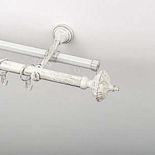 """Карниз металлический стыкованный c наконечниками """"Бирма"""", 2-рядный, белое золото, гладкая труба, ø 19 мм"""