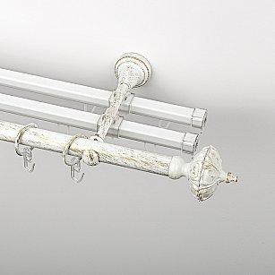 """Карниз металлический стыкованный с U-шинами и наконечниками """"Бирма"""", 3-рядный, белое золото, гладкая труба, ø 19 мм"""