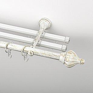 """Карниз металлический стыкованный с U-шинами и наконечниками """"Тай"""", 3-рядный, белое золото, гладкая труба, ø 19 мм"""