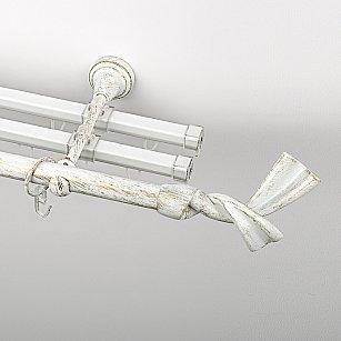 """Карниз металлический стыкованный с U-шинами и наконечниками """"Дива"""", 3-рядный, белое золото, гладкая труба, ø 19 мм"""