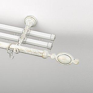 """Карниз металлический стыкованный с U-шинами и наконечниками """"Дуо"""", 3-рядный, белое золото, гладкая труба, ø 19 мм"""