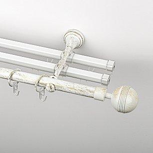 """Карниз металлический стыкованный с U-шинами и наконечниками """"Орд"""", 3-рядный, белое золото, гладкая труба, ø 19 мм"""