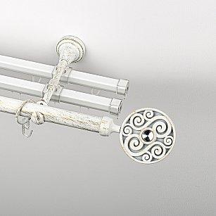 """Карниз металлический стыкованный с U-шинами и наконечниками """"Вега"""", 3-рядный, белое золото, гладкая труба, ø 19 мм"""