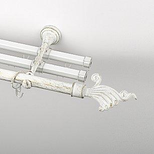 """Карниз металлический стыкованный с U-шинами и наконечниками """"Верди"""", 3-рядный, белое золото, гладкая труба, ø 19 мм"""