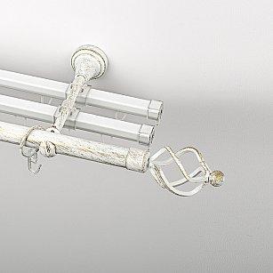 """Карниз металлический стыкованный с U-шинами и наконечниками """"Авея"""", 3-рядный, белое золото, гладкая труба, ø 19 мм"""