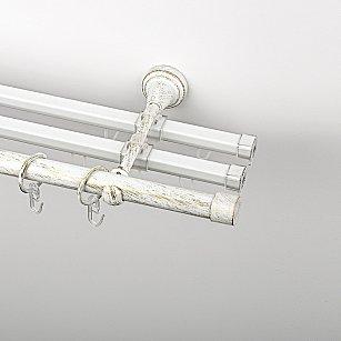 """Карниз металлический стыкованный с U-шинами и заглушками """"Кап"""", 3-рядный, белое золото, гладкая труба, ø 19 мм"""
