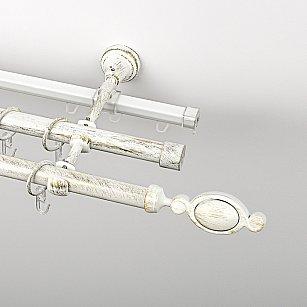 """Карниз металлический стыкованный c наконечниками """"Дуо"""", 3-рядный, белое золото, гладкая труба, ø 19 мм"""