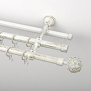 """Карниз металлический стыкованный c наконечниками """"Тэтис"""", 3-рядный, белое золото, гладкая труба, ø 19 мм"""
