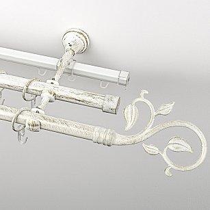 """Карниз металлический стыкованный c наконечниками """"Флора"""", 3-рядный, белое золото, гладкая труба, ø 19 мм"""