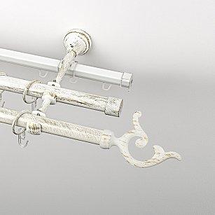 """Карниз металлический стыкованный c наконечниками """"Ноя"""", 3-рядный, белое золото, гладкая труба, ø 19 мм"""