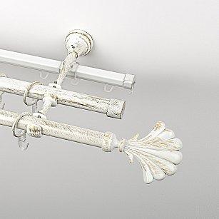 """Карниз металлический стыкованный c наконечниками """"Морена"""", 3-рядный, белое золото, гладкая труба, ø 19 мм"""