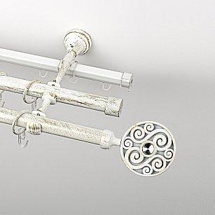 """Карниз металлический стыкованный c наконечниками """"Вега"""", 3-рядный, белое золото, гладкая труба, ø 19 мм"""
