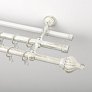 """Карниз металлический стыкованный c наконечниками """"Тайбэй"""", 3-рядный, белое золото, гладкая труба, ø 19 мм"""