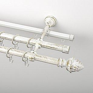 """Карниз металлический стыкованный c наконечниками """"Агра"""", 3-рядный, белое золото, гладкая труба, ø 19 мм"""