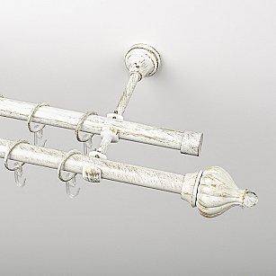 """Карниз металлический стыкованный, 2-рядный """"Тайбэй"""", белое золото, гладкая труба, ø 19 мм"""