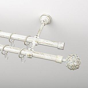 """Карниз металлический стыкованный, 2-рядный """"Тэтис"""", белое золото, гладкая труба, ø 19 мм"""