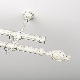 """Карниз металлический стыкованный, 2-рядный """"Дуо"""", белое золото, гладкая труба, ø 19 мм"""