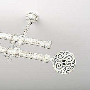 """Карниз металлический стыкованный, 2-рядный """"Вега"""", белое золото, гладкая труба, ø 19 мм"""