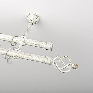 """Карниз металлический стыкованный, 2-рядный """"Авея"""", белое золото, гладкая труба, ø 19 мм"""