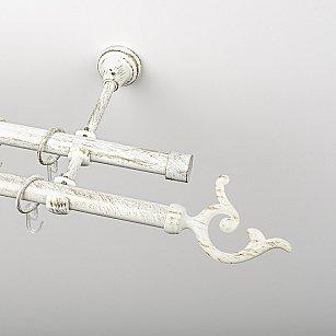 """Карниз металлический стыкованный, 2-рядный """"Ноя"""", белое золото, гладкая труба, ø 19 мм"""