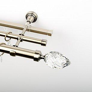 """Карниз металлический стыкованный c наконечниками """"Орегон"""", 3-рядный, золото антик, гладкая труба, ø 25 мм"""