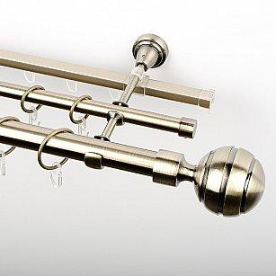 """Карниз металлический стыкованный c наконечниками """"Омега"""", 3-рядный, золото антик, гладкая труба, ø 25 мм"""