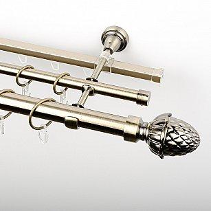 """Карниз металлический стыкованный c наконечниками """"Агра"""", 3-рядный, золото антик, гладкая труба, ø 25 мм"""