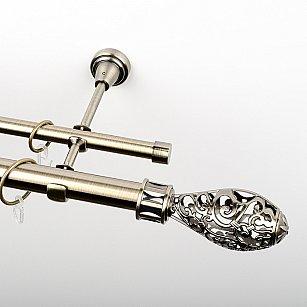 """Карниз металлический стыкованный, 2-рядный """"Версаль"""", золото антик, гладкая труба, ø 25 мм"""