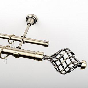 """Карниз металлический стыкованный, 2-рядный """"Вито"""", золото антик, гладкая труба, ø 25 мм"""