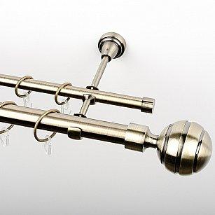 """Карниз металлический стыкованный, 2-рядный """"Омега"""", золото антик, гладкая труба, ø 25 мм"""
