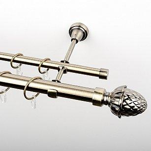 """Карниз металлический стыкованный, 2-рядный """"Агра"""", золото антик, гладкая труба, ø 25 мм"""