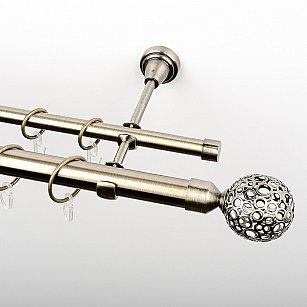 """Карниз металлический стыкованный, 2-рядный """"Лацио"""", золото антик, гладкая труба, ø 25 мм"""