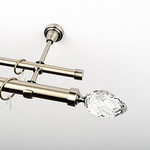 """Карниз металлический стыкованный, 2-рядный """"Орегон"""", золото антик, гладкая труба, ø 25 мм"""
