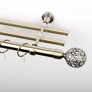 """Карниз металлический стыкованный с U-шинами и наконечниками """"Лацио"""", 3-рядный, золото антик, гладкая труба, ø 25 мм"""