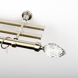 """Карниз металлический стыкованный с U-шинами и наконечниками """"Орегон"""", 3-рядный, золото антик, гладкая труба, ø 25 мм"""