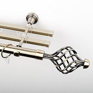 """Карниз металлический стыкованный с U-шинами и наконечниками """"Вито"""", 3-рядный, золото антик, гладкая труба, ø 25 мм"""