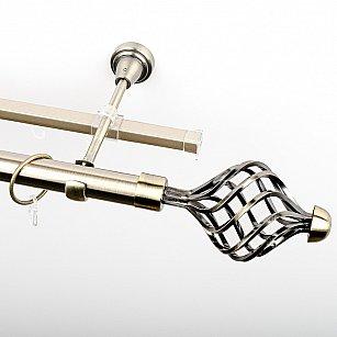 """Карниз металлический стыкованный c наконечниками """"Вито"""", 2-рядный, золото антик, гладкая труба, ø 25 мм"""