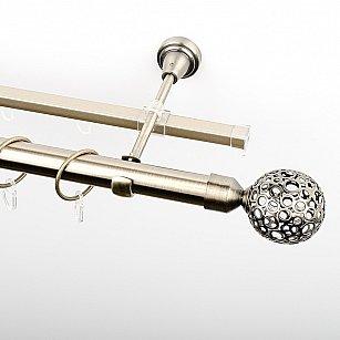 """Карниз металлический стыкованный c наконечниками """"Лацио"""", 2-рядный, золото антик, гладкая труба, ø 25 мм"""