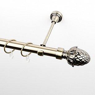 """Карниз металлический стыкованный, 1-рядный """"Агра"""", золото антик, гладкая труба, ø 25 мм"""