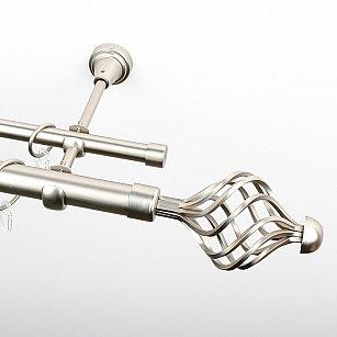 """Карниз металлический стыкованный, 2-рядный """"Вито"""", хром матовый, гладкая труба, ø 25 мм"""