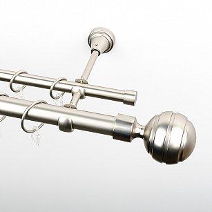 """Карниз металлический стыкованный, 2-рядный """"Омега"""", хром матовый, гладкая труба, ø 25 мм"""